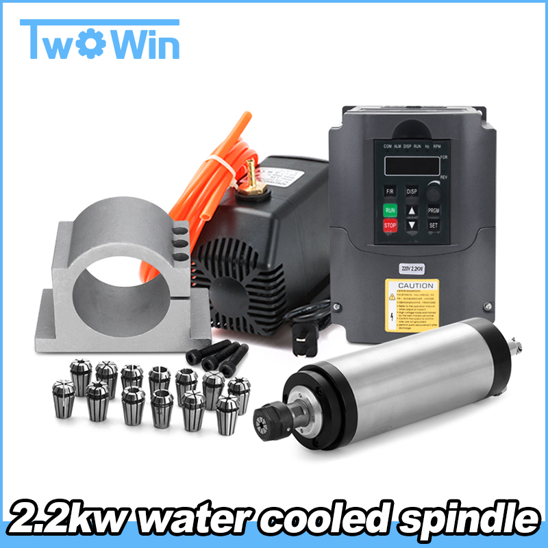 Water-Cooled-Spindle Inverter ER20/ER11 Router For Cnc Wood 80mm-Clamp 110V/220V 13pcs