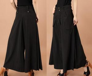 free shipping spring autumn summer pants plus size trousers wide leg women pants culottes mid waist black female trousers thin