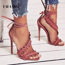1d3adaaed LALA IKAI com Tira No Tornozelo Sandálias de Salto Alto Sandálias sapatas  do Verão Das Mulheres