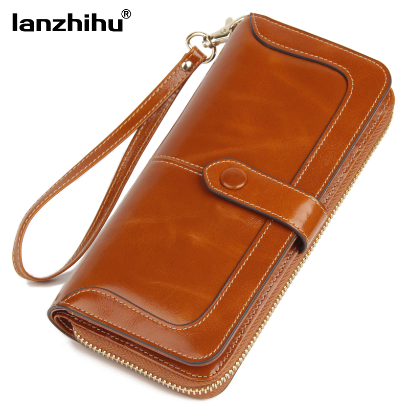 2017 New Women's Genuine Leather Wallet Female Zipper Wallets RFID Blocking Clutch Large Card Holder Phone Wristlet Coin Purse brand double zipper genuine leather men wallets with phone bag vintage long clutch male purses large capacity new men s wallets