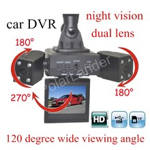 free shipping car digital Camcorder H3000 Car DVR Dual lens DashCam automotive Dashboard Cameras 120 degree wide viewing angle