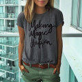 Women Short Sleeve Printed Letter Number Loose Summer Casual O Neck Print Tops T-Shirt Dark Grey