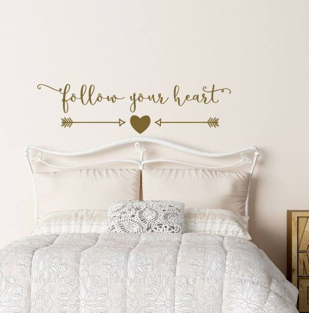 Arrow Heart Wall Stickers Follow Your Decal Quote Nursery Art Lettering Inspirational