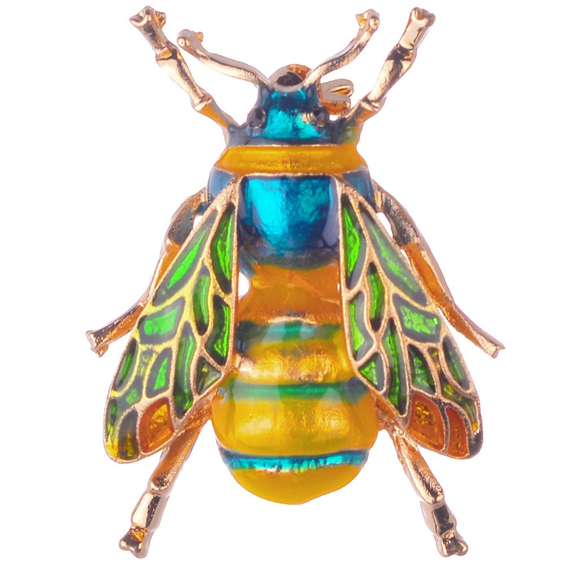 New Fashion Insect Bee Brooch For Women Kids Girls Bee Jewelry Gold Color Yellow Green Enamel Brooches Jewelry Bumble Bee