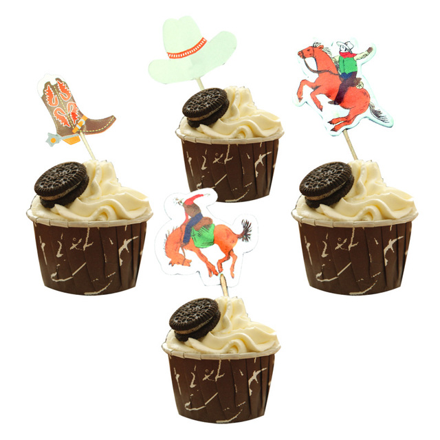 24pcs West Cowboy Cupcake Topper Cowboy Boots Hats Cake Flags Picks for  Baby Shower Kids Birthday Party Supplies Children Favors f1ad566b9f82