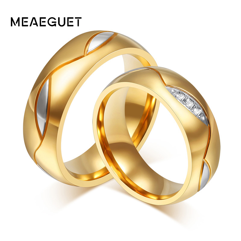 Free shipping 18k gold plated  6mm wide wedding rings for men and women jewelry dock connector to usb cable