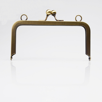 6 x 3 inches Antique Brass Clutch Purse Frame With Loops Bronze Purse Frames