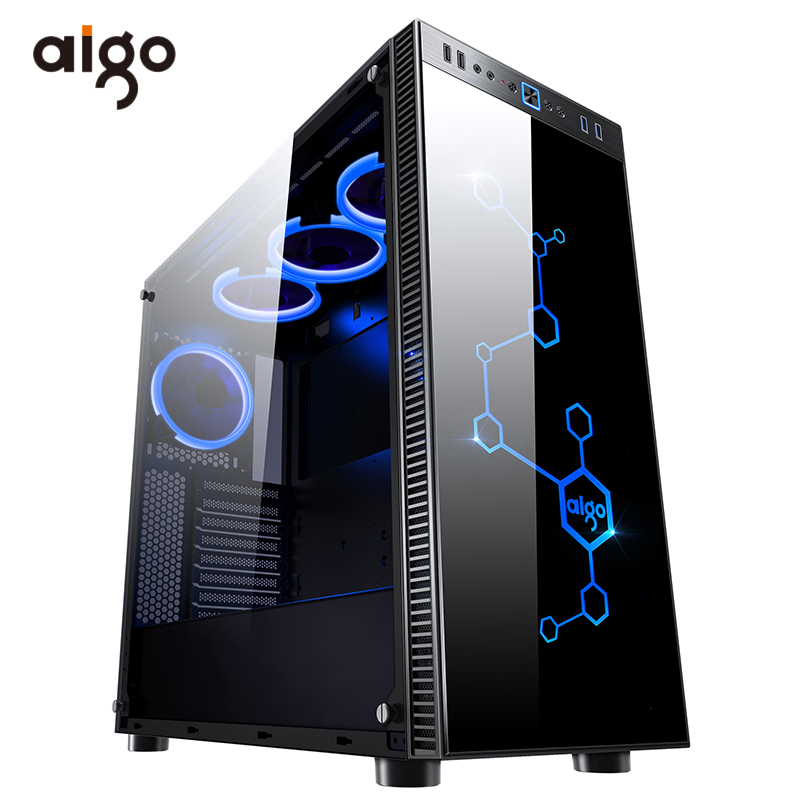 Aigo Desktop Computer Gaming Case Mid-Tower ATX Game PC Computer Chassis Case Tempered Glass Computer Cases With 4pcs RGB Fan
