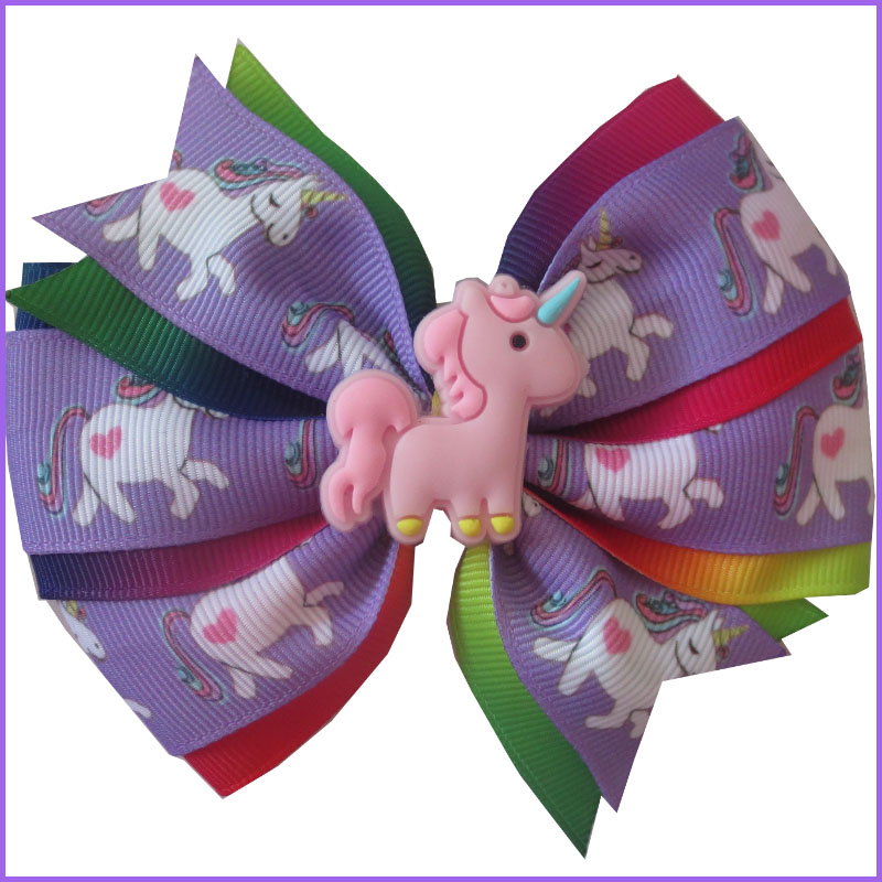 "10 BLESSING Girl Popular 2.5/"" Unicorn Clip Little Pony Rainbow Spangle Flash"