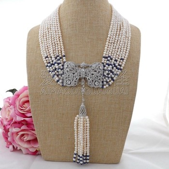 Pearl blue stone necklace