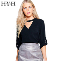 HYH HAOYIHUI Hollow Out Halter V Neck Black Blouse Shirt Elegant Short Sleeve Blouse Blusas OL