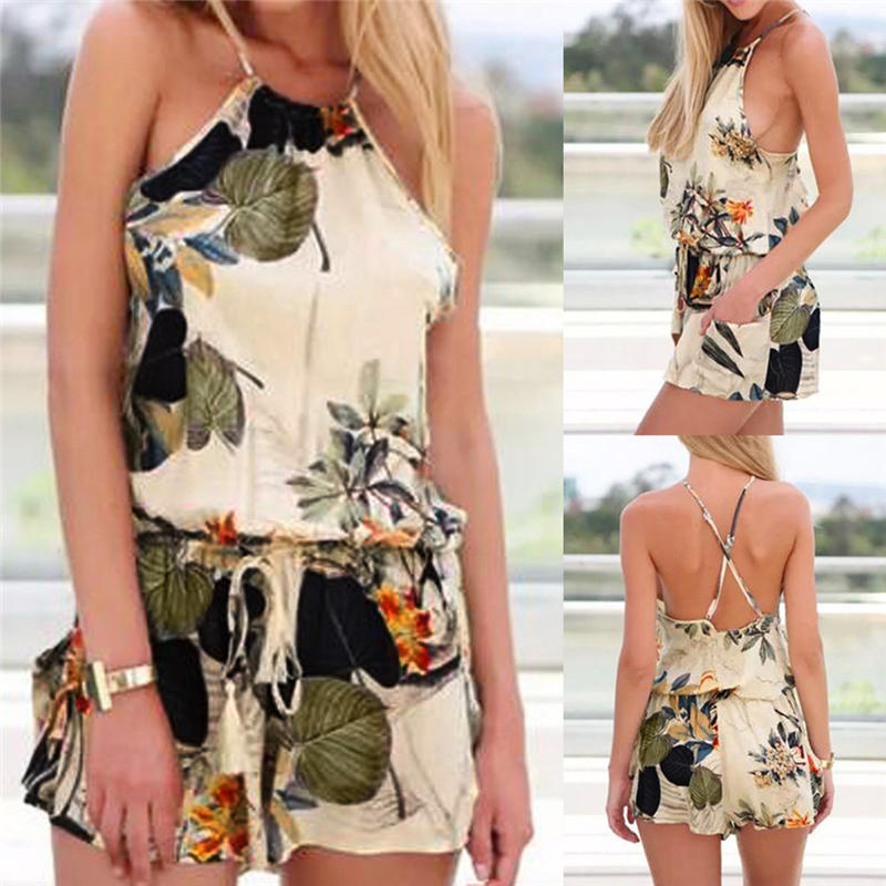 2019 Hot Sexy Women Short Sleeve Floral Lace Playsuit Ladies Jumpsuit Shorts Romp Vintage Sexy Floral Clothes Girl Slim Romp