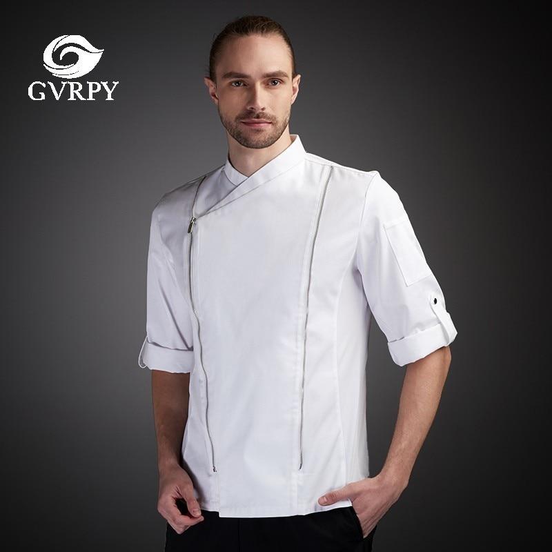 Chef Uniform Men Seven-quarter Sleeve Summer Breathable Kitchen Cooking Jacket Restaurant Hotel  Hairdressers Salon Overalls