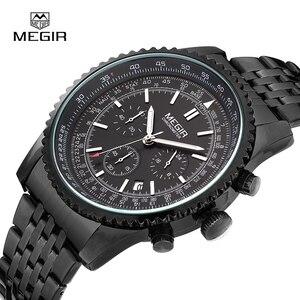 Image 4 - MEGIR fashion mens quartz wristwatch  mens luxurious business waterproof watch 2008 free shipping