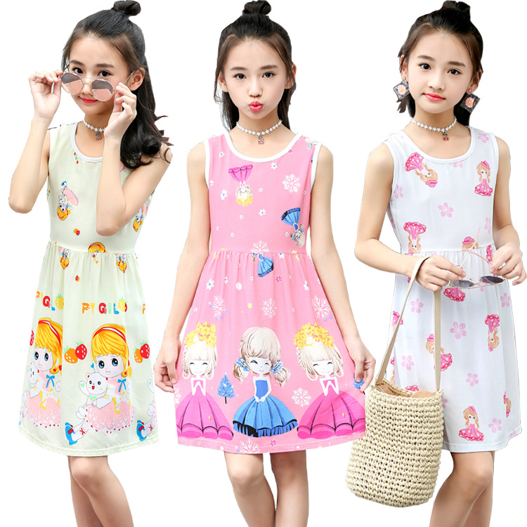 Summer Girls Princess Dress Brand Cute Cartoon Girl Cotton Clothes Children Flower Print Sleeveless Dresses Kids Party Dress