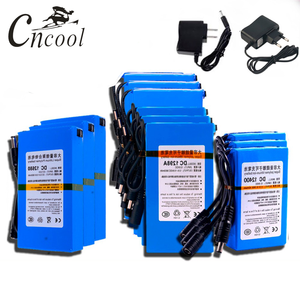 Cncool DC 12V High Quality Super Rechargeable Portable Lithium ion Battery 1800mAh 20000mAh With EU US Plug Drop shipping in Replacement Batteries from Consumer Electronics