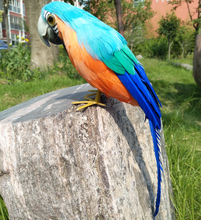 colourful blue feathers parrot artificial bird large 30cm handicraft,prop,home garden decoration gift p2739
