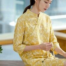 Новое летнее платье Чонсам в китайском стиле свободного кроя с короткими рукавами в стиле ретро, женское Хлопковое платье