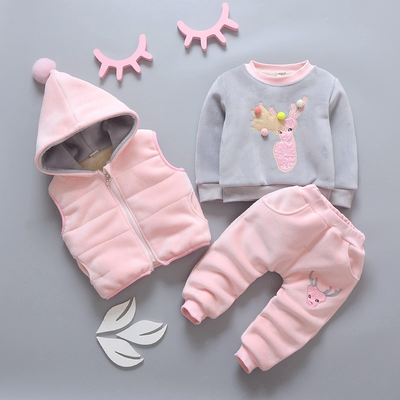 NEW Baby Flannel Set Winter Girl Cartoon Animal Suit Super Thick Warm Vest+Pants+Clothing (Three Piece Sets)Velvet ClothesNEW Baby Flannel Set Winter Girl Cartoon Animal Suit Super Thick Warm Vest+Pants+Clothing (Three Piece Sets)Velvet Clothes