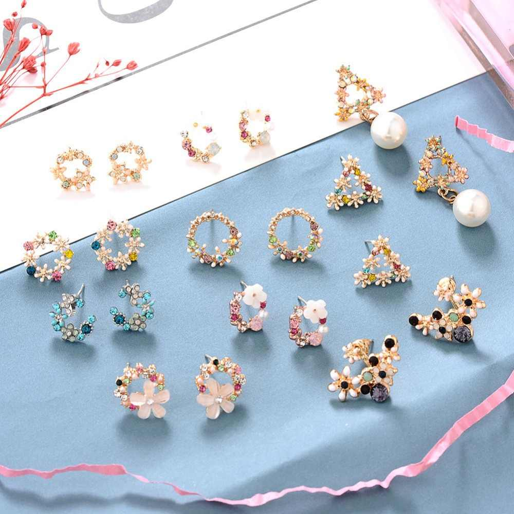 UMODE Korean Small Flower Moon Stud Earrings Set Silver 925 Pin Needles Cute Fashion Jewelry For Women Free Shiping Wholesale