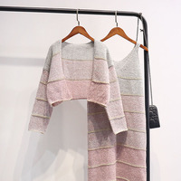 Autumn Knitted Dress Two Pieces Women Knitting Spaghetti Strap Dresses+Long Sleeve Sweater Vestidos Winter Bottomings Mini WZ532