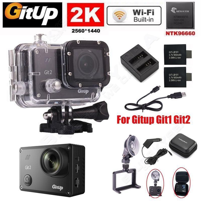 Gitup Git2 Pro Sports Camera Action Cam Wifi 2K 30fps Novatek 96660 Charger font b Battery