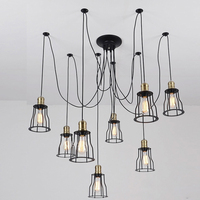 Nordic Clothing Store Chandelier Lights Vintage Retro Iron Art Lamp Spider Personality Creative Bar Cafe Cafe