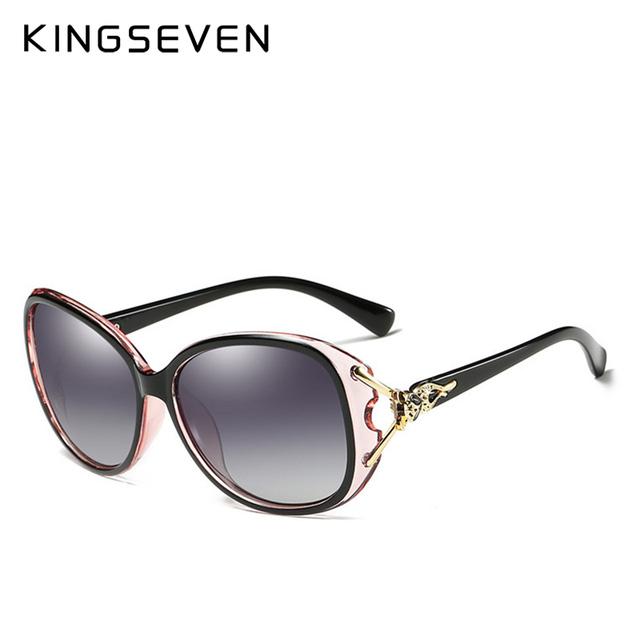 KINGSEVEN HD Sunglasses Polarized Retro Big frame Fox luxury Eyewear Lady Brand Designer Sun glasses Oculos de sol