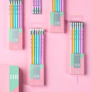 Image 4 - Makro Lapices öğrenciler Kawaii kalem renkli altıgen kalem 2B HB yazma kalemler Lapices silgi ile güvenli toksik olmayan Papeleria