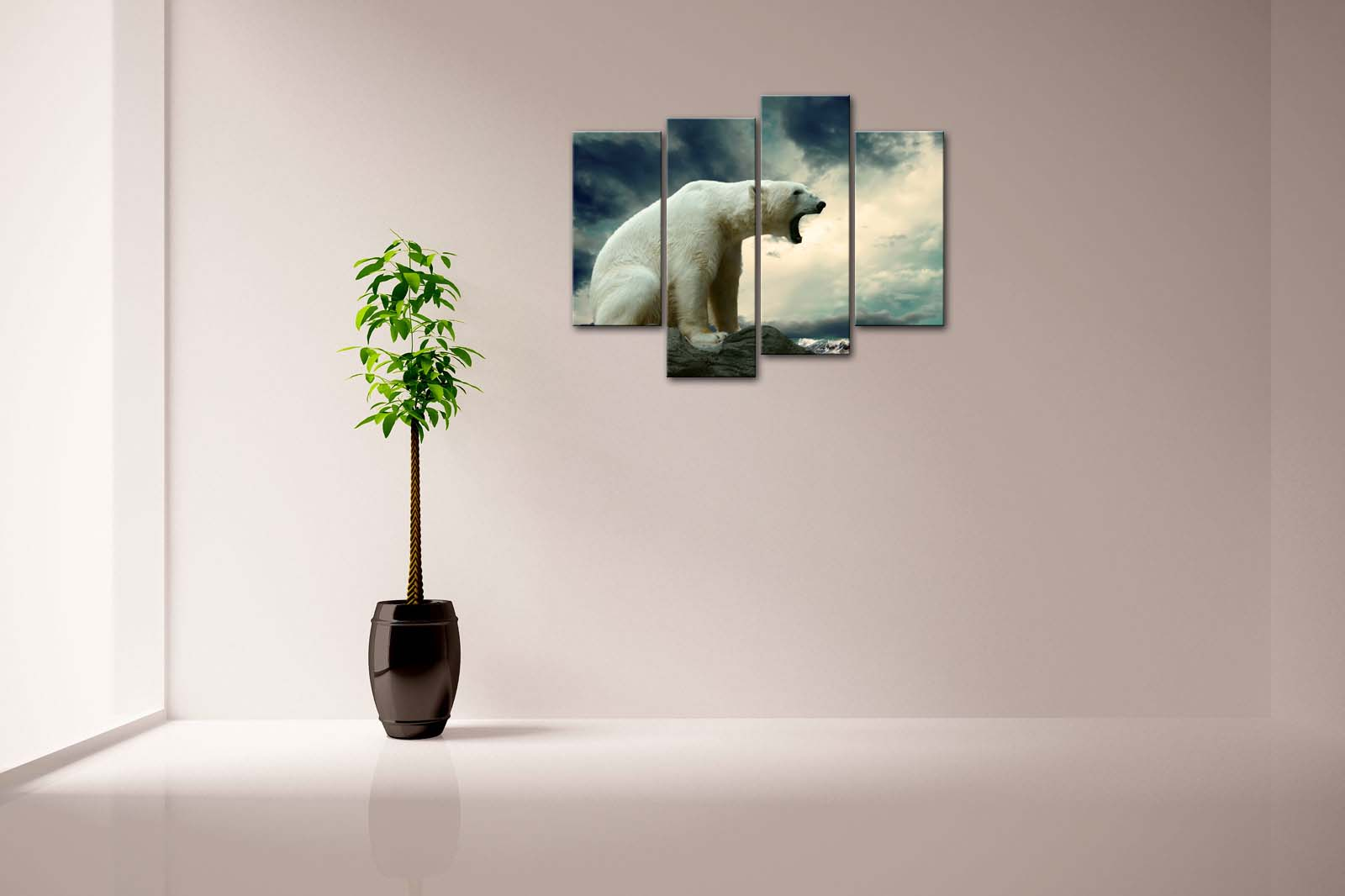 Framed Wall Art Pictures Polar Bear Rock Beach Canvas Print Animal Posters With Wooden Frames For Home Living Room Decor - 3