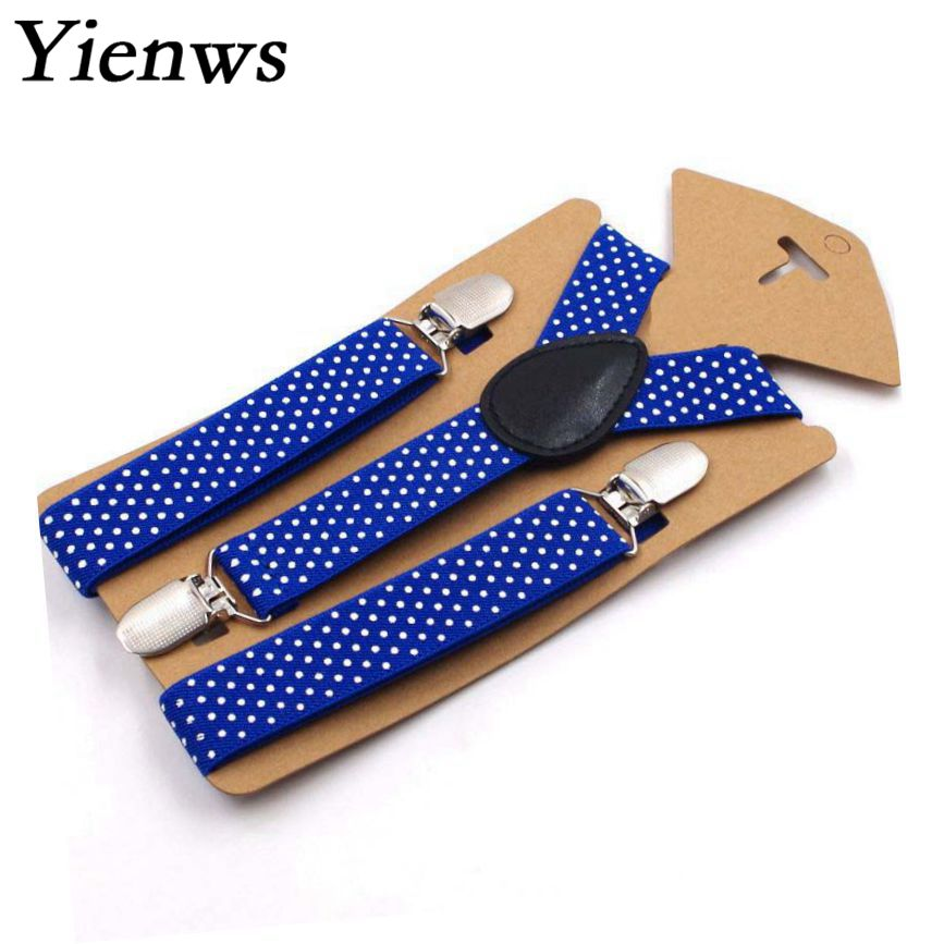 Yienws Baby Suspenders Polka Dot Suspenders For Boys 3 Clip Button Suspenders Kids Girl Pink Burgundy Bretelle Enfant YiA025