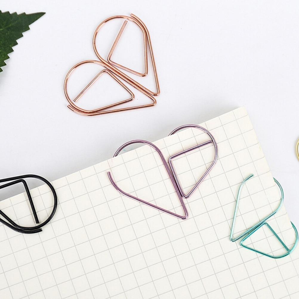 Delicate 10pcs Water Drop Shape Metal Memo Clip Paper Clips Interesting Bookmark