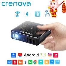 CRENOVA мини-проектор DLP с Android 7.1.2 OS WI-FI Bluetooth Портативный проектор для Full HD 1080 P домашний театральный фильм проектор