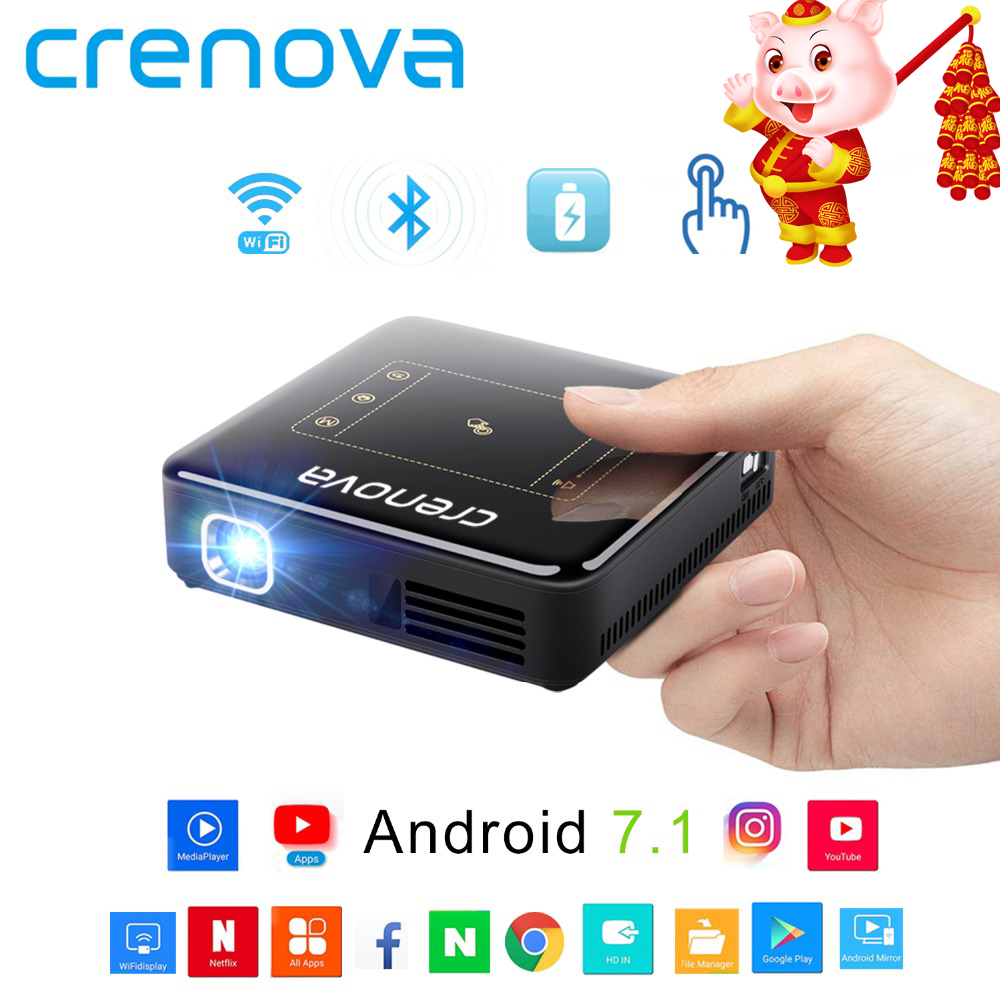 CRENOVA DLP Mini Projektor Mit Android 7.1.2 OS WIFI Bluetooth Tragbare Projektor Für Volle HD 1080 P Home Theater Film Beamer