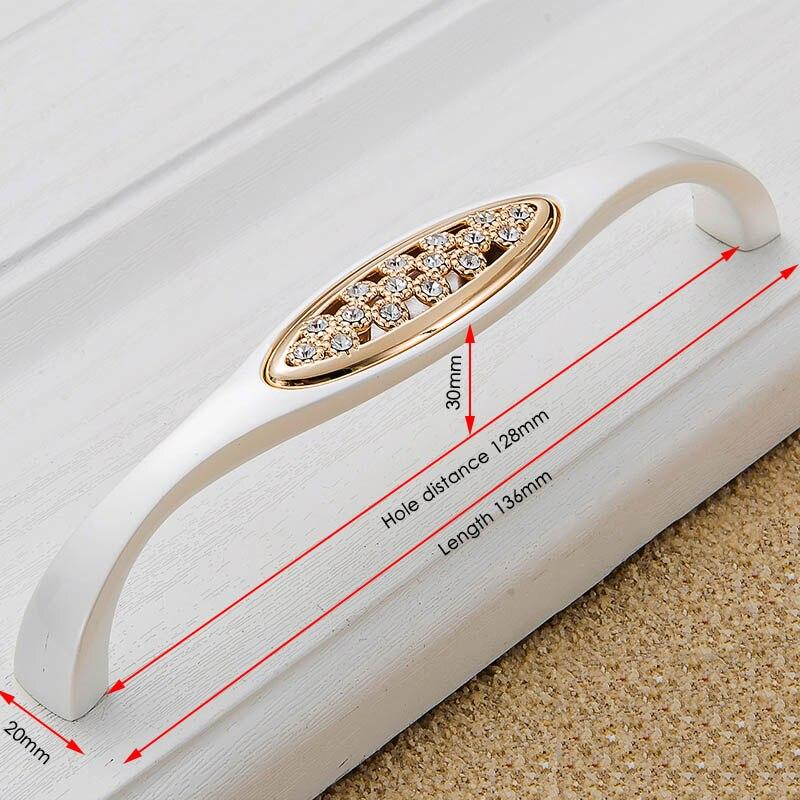 KAK хрустальные золотые дверные ручки с бриллиантами, роскошные цинковые ручки для ящика шкафа, европейские ручки для шкафа, мебельные ручки - Цвет: Handle-802-128G