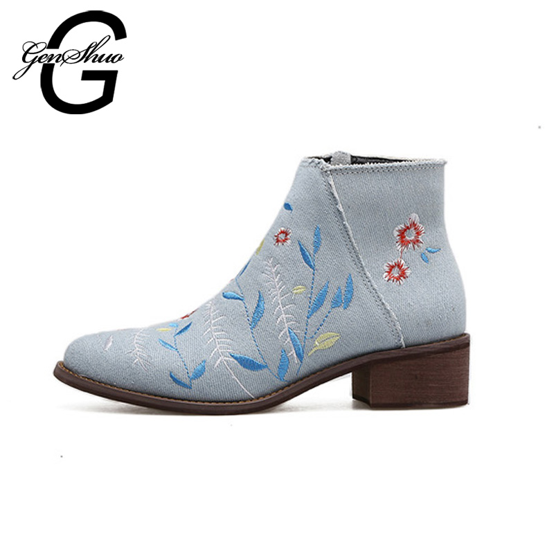 Ankle Boots GENSHUO Women Ankle Boots Blue Denim Short Boots Shoes Women Autumn Spring Best Low Heel Ankle Boot for Woman Ladies 2017 spring new women sweet floral embroidery pastoralism denim jeans pockets ankle length pants ladies casual trouse top118
