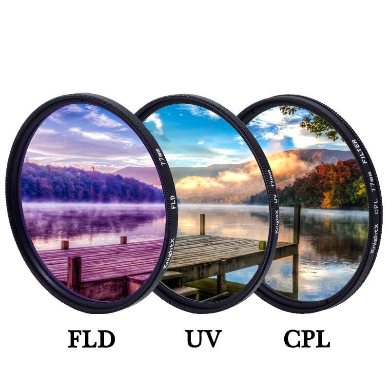 KnightX 49 52 55 58 62 67 77 mm FLD UV CPL filtro de la lente para nikon Canon Sony accesorios para cámara d5200 d3300 canon 52mm 58mm