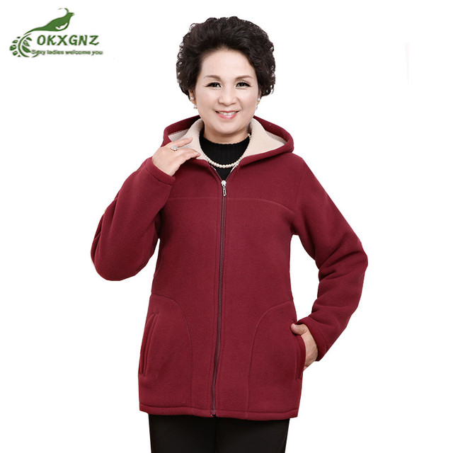 b225cacb7aa New Winter Outwear Middle Aged Womens Imitation Lambs Fleece Jacket Hooded Ladies  Warm Soft Velevt Coat Mother Overcoats Size5XL