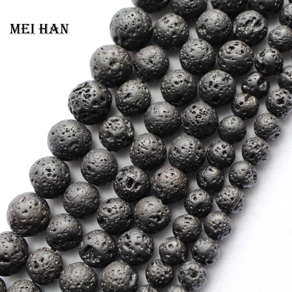 Perlen Rational Meihan Großhandel Natürliche Lava Schwarz Perlen Armband Chunky Perlen Für Schmuck Machen Design Diy Armband Halskette Perlen & Schmuck Machen
