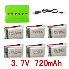 BLL RC Batterie SYMA X5C X5 X5SC X5SW CX-30W H5C Avions Télécommande Hélicoptère 3.7 V 6 PCS Batterie et 6 dans 1 Chargeur