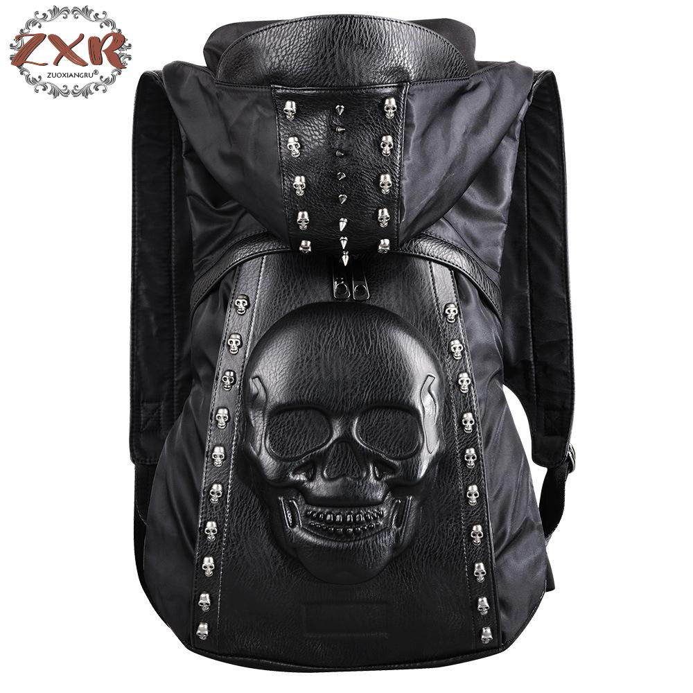New Fashion Personality 3d Skull Leather Backpack Rivets Skull Backpack With Hood Cap Bag Cross Black Bags Hiphop Man Backpacks new 2017 fashion personality 3d skull leather backpack rivets skull backpack with hood cap apparel bag cross bags hiphop man 737