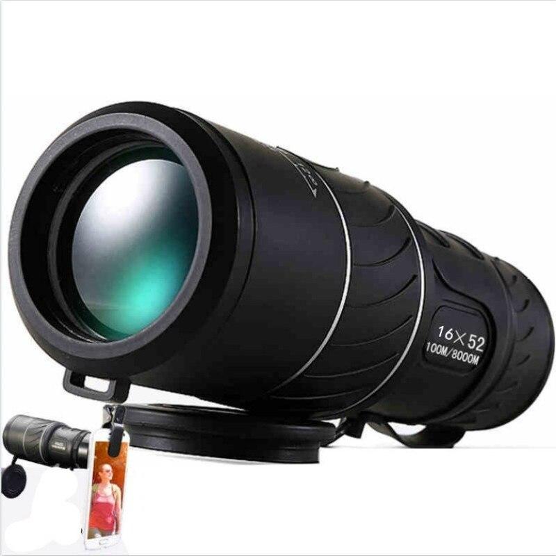 블랙 듀얼 포커스 16x52 줌 단안 망원경 광학 렌즈 - 캠핑 및 하이킹
