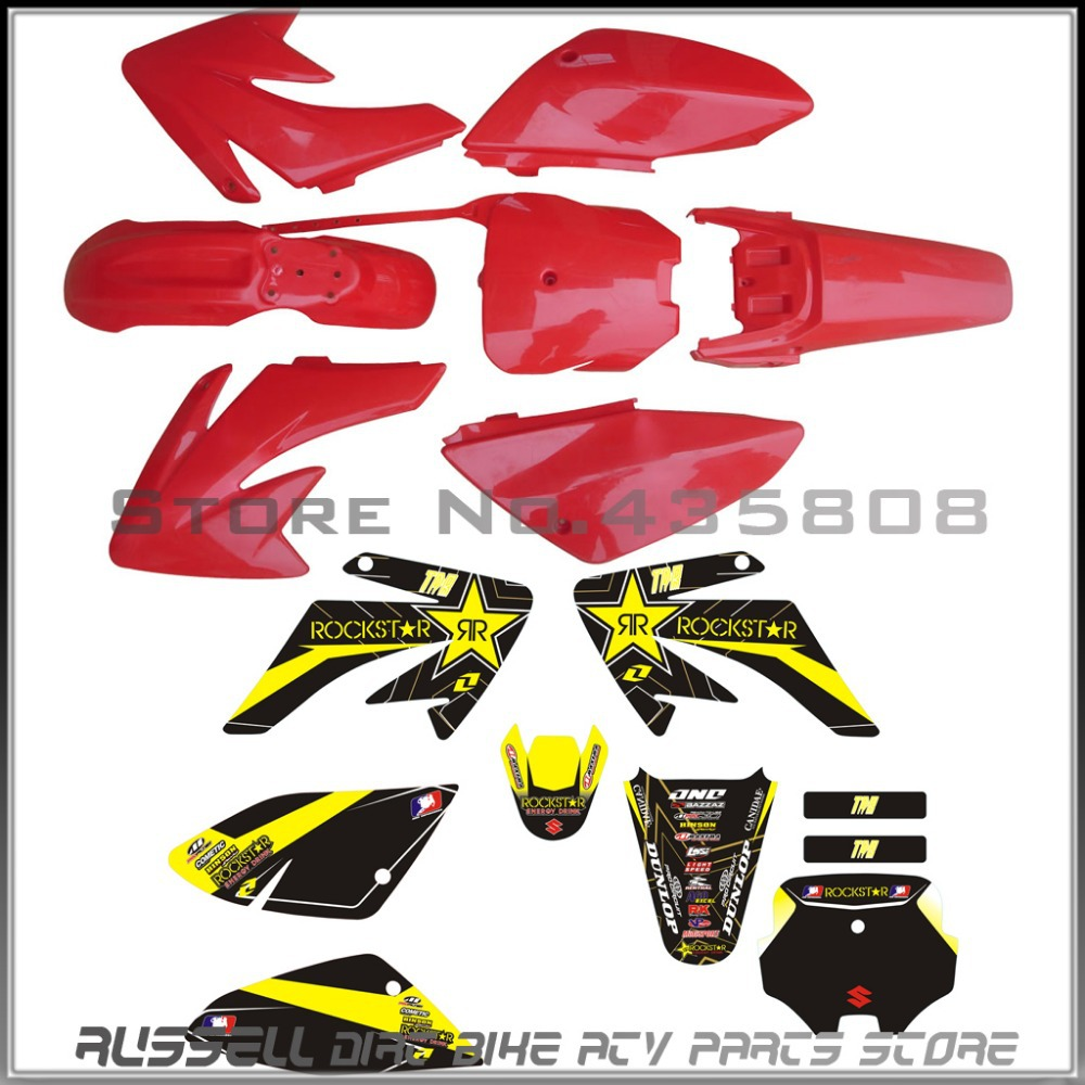 ФОТО CRF70 plastic Fenders kits  for Honda 150cc CR pit bikes and 3M graphics decals sticker RED
