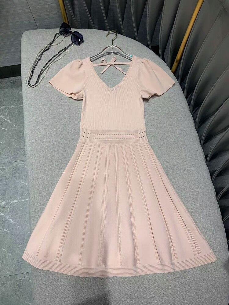 2019 moda damska koszulka z dekoltem w serek drutach sukienka 2 kolory at190162 w Suknie od Odzież damska na  Grupa 1