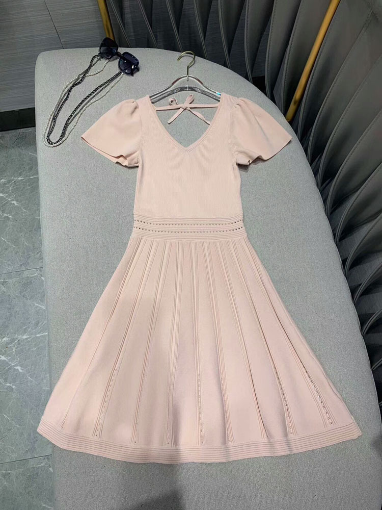 Kadın Giyim'ten Elbiseler'de 2019 moda kadın v yaka örgü elbise 2 renkler at190162'da  Grup 1
