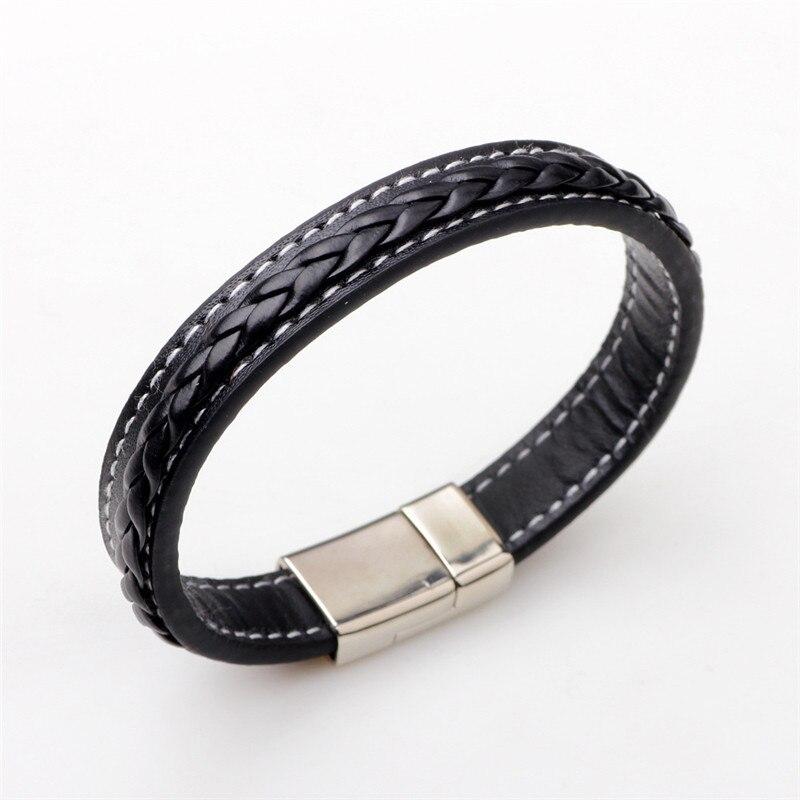Trend Men Genuine Leather Bracelet Stainless Steel Buckle Black Brown Woven Leather Punk Style Bracelet Homme Men Jewelry Gift