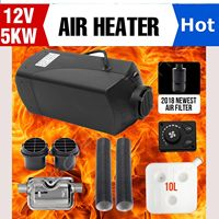 5KW Parking Diesel Air Heater Small Digital Switch with Muffler For Tank Vent Duct Thermostat Caravan 12V 24V