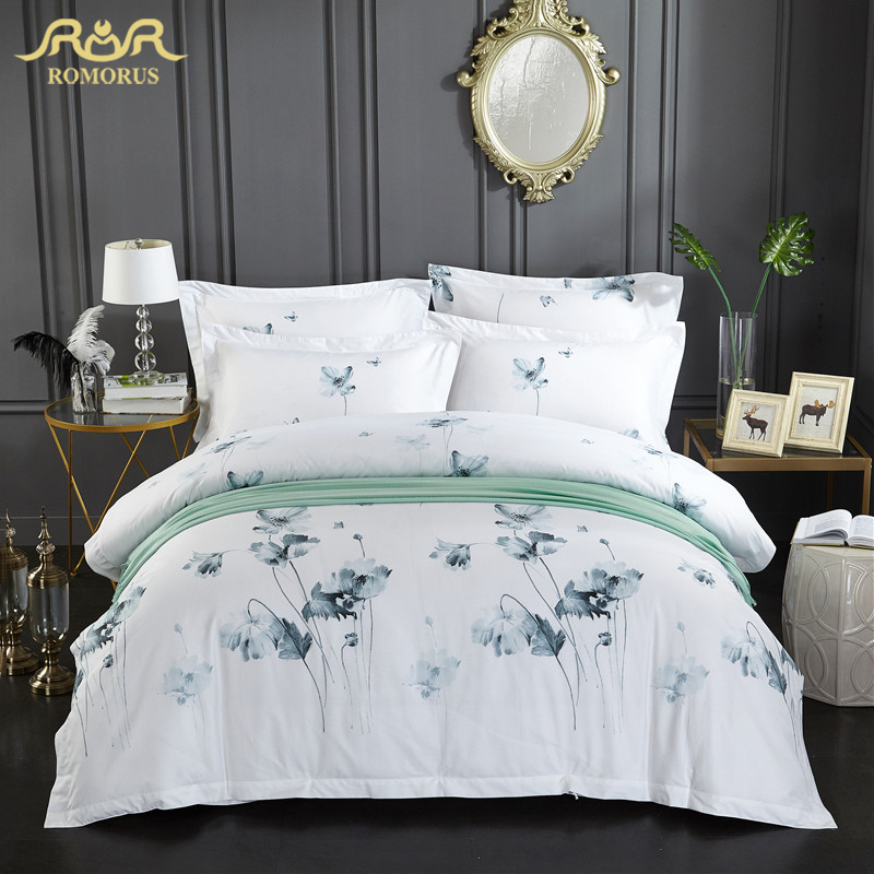 ROMORUS Ink Floral Bedding Set Full Queen King Size 3 4 pcs 100 Soft Cotton Luxury