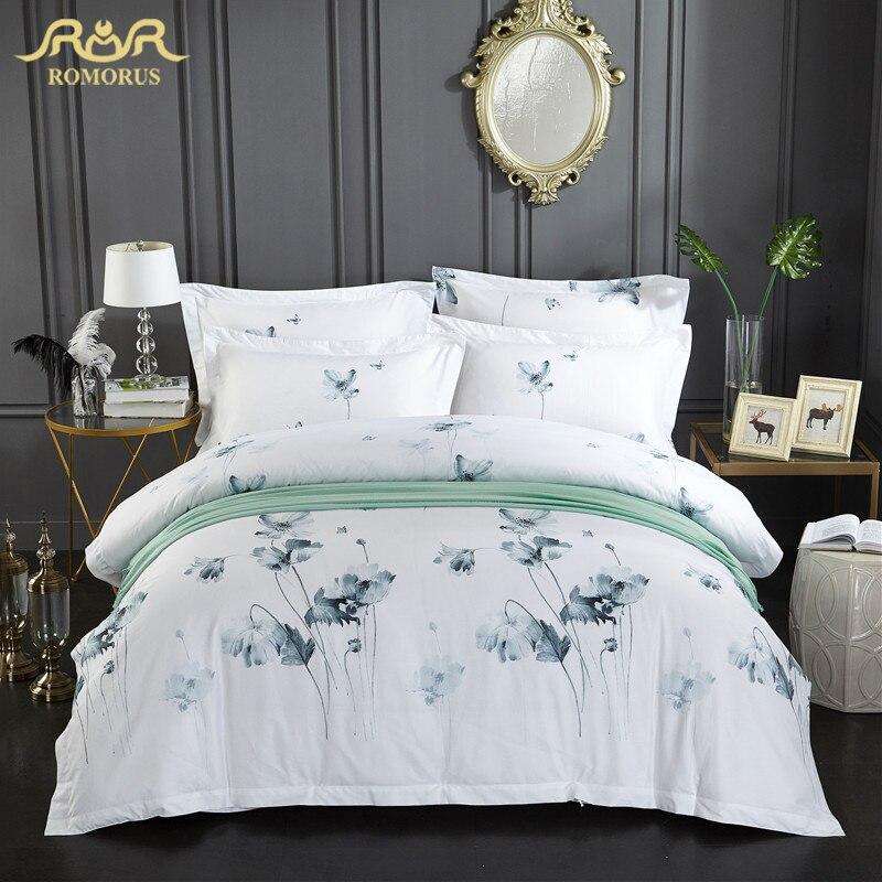 Ev ve Bahçe'ten Yatak Takımları'de ROMORUS Mürekkep Çiçek nevresim takımı Tam Kraliçe Kral 3/4 adet 100% Yumuşak Pamuklu Lüks Yorgan yatak örtüsü seti Beyaz Otel Tek Kişilik Yatak kapak'da  Grup 1