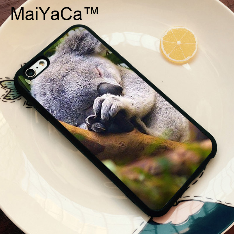 MaiYaCa Sleeping Baby Koala Bear Print Luxury Painting Soft TPU Mobile Phone Case Cover Coque for iPhone 6s 6 i6 Coque Shell